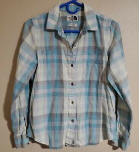The North Face Womens Shirt Multi Color Plaid Button Up Long Sleeve Size Medium