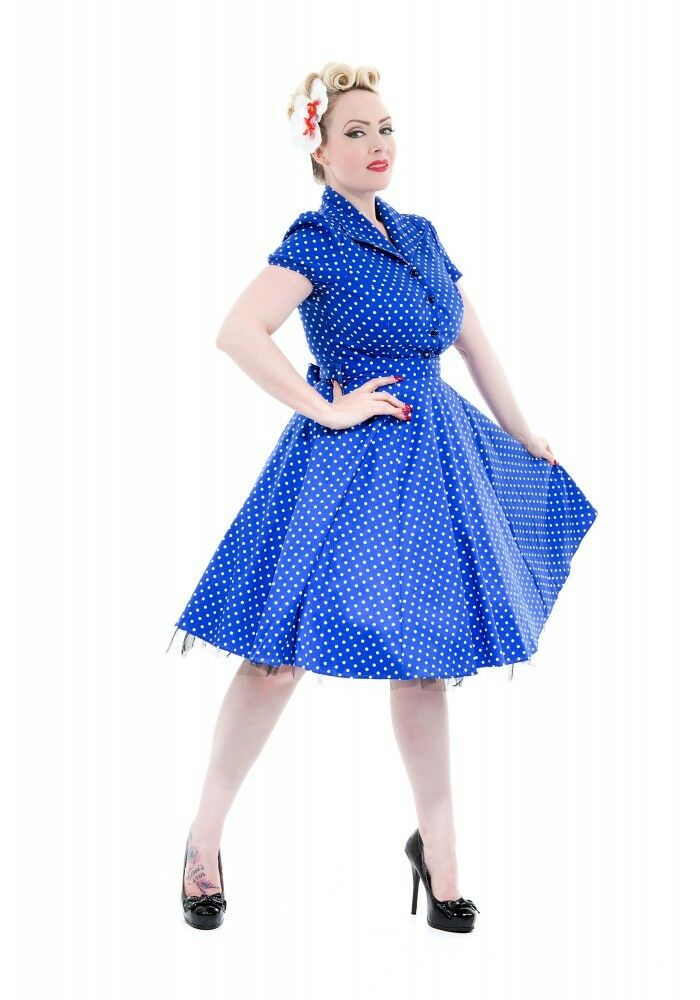 H&r Londres à Pois Swing 15.2mS Pinup Punk Rockabilly Vintage Bleu Robe Bal