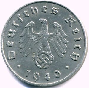 WW2 Nazi German Zinc 10 Pfg Coin-Best Condition on -Free Additional Shipping