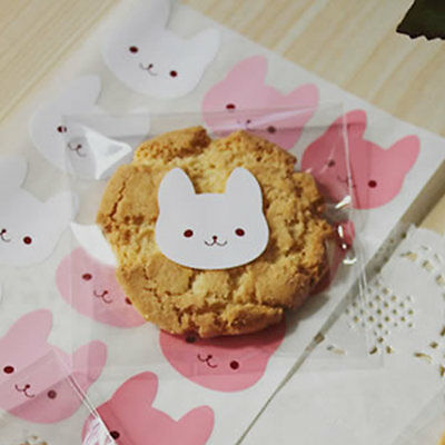 Cute Rabbit Seal Sticker Label For Cello Cellophane Party Gift Cupcake Bag Boxes