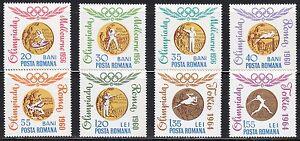 Romania-1964-MNH-Sc-1691-1698-Mi-2345-2352-Melbourne-Rome-Tokyo-Olympic-medals