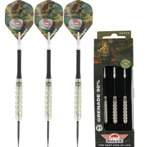 Chunky Deep Cut Grooves Grip 21-26 grams BULLS  GRENADE 90/% TUNGSTEN DARTS SET
