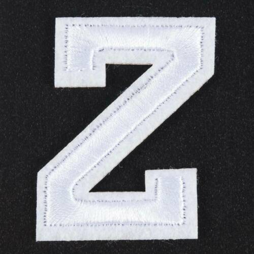 White A-Z Alphabet Letters Embroidered Motif Fabric Iron On Sew on Patch Badge
