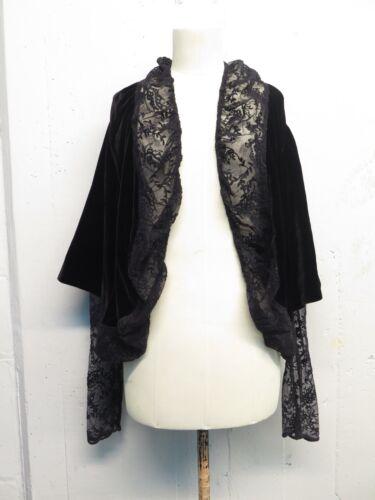 Zero Maria Cornejo Black Velvet & Lace Open Victorian Style Jacket Sz 6