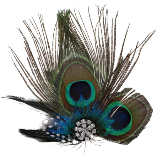 Peacock Feather Sparkling Rhinestones Bridal Wedding Hair Clip Head Accessory