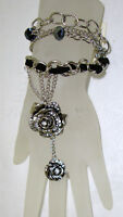 Slave Bracelet-chain Link, Flower W/clear Stones Accent Lobster Claw Closure