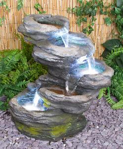 fontaine cascade jardin chute pierre effet ext rieur 5 niveaux clairage led ebay. Black Bedroom Furniture Sets. Home Design Ideas