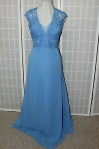 NWT Cameron Blake 114665 Size 14 Cornflower chiffon long formal evening gown