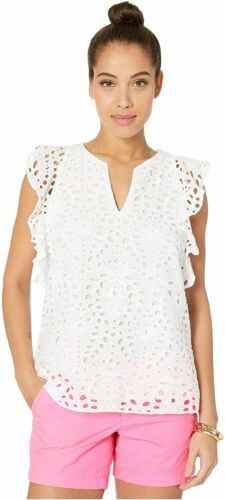 $138 NEW Lilly Pulitzer FAUN TOP Resort White Large Petal EYELET Blouse S L