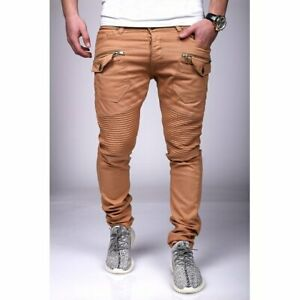 Jeans-Uomo-Biker-Pantaloni-Braun-Chino-Strappato-Zip-Slim-Fit-John-Kayna