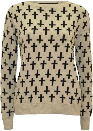Donna NUOVI SANDALI CROSS PRINT Winter Knit Wear Sudore Camicia Maglione Top 8-14