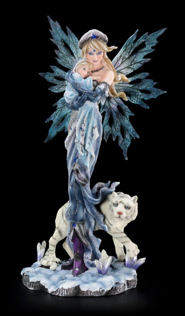 Figura Elfos con Bebé y Tigre - Hada Estatua Decoración Fantasy