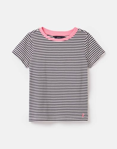 Blue White Stripe Joules Girls Pascal Short Sleeved Jersey T-Shirt