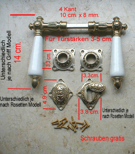 Antik Türdrücker Antikladl BB Rosetten Türgriffe Türbeschlag Drückergarnitur N4