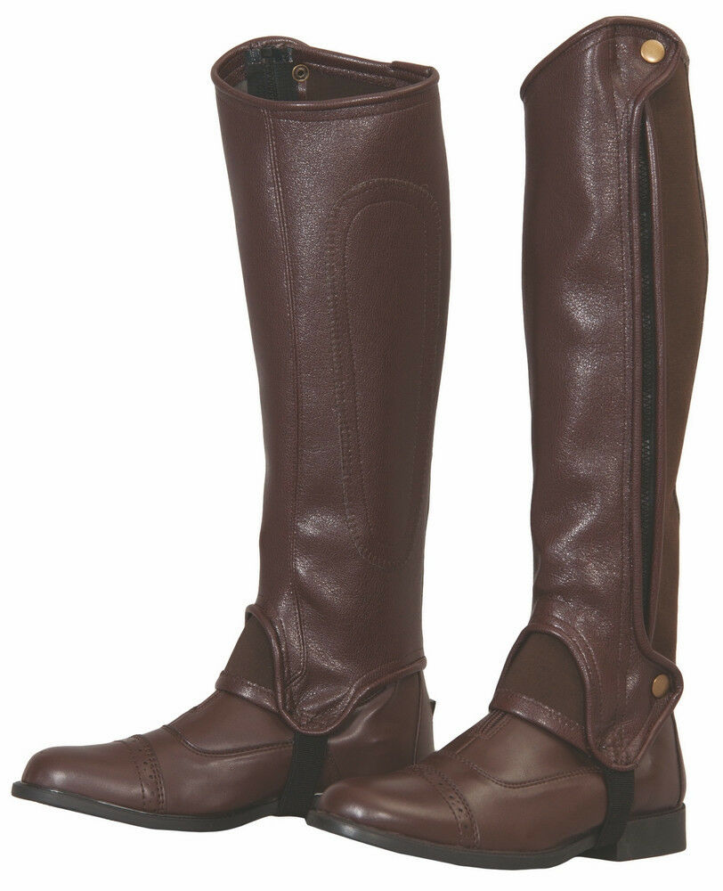 Tuffrider Adult Grippy Grain Synthetic Half Chaps with Side Zip Elasticated Leg