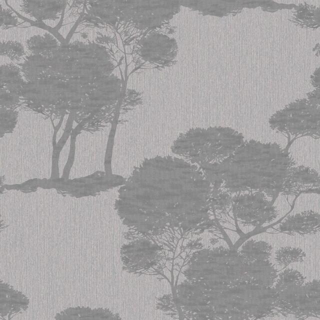 Grandeco Darcy Forest Wood Tree Pattern Wallpaper Modern Metallic Glitter Motif