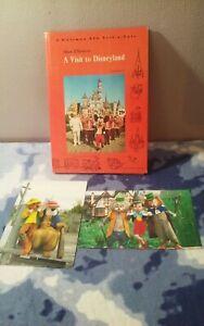 Vintage WALT DISNEY A VISIT TO DISNEYLAND SOUVENIR BOOK 1965 & Disney Postcards