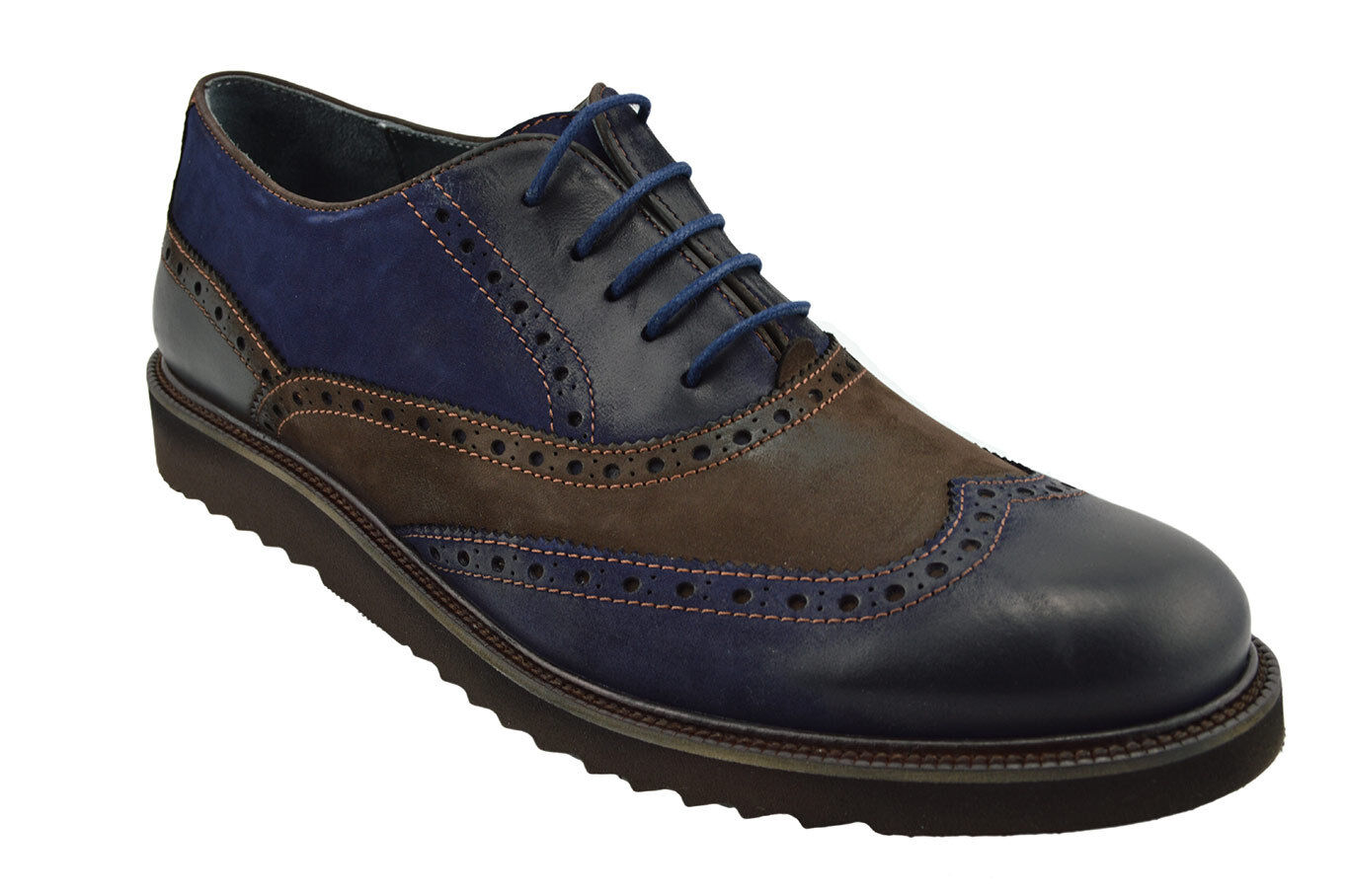 230 MASQLEN Blue Brown WING TIP Lace Up Oxfords Suede Pelle Dress Uomo Shoes