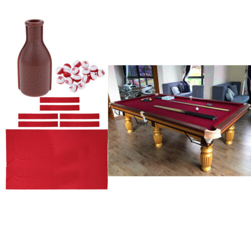 Worsted Pool Table Cloth Felt for 9/' Snooker Billiard Tables /& Shaker Bottle
