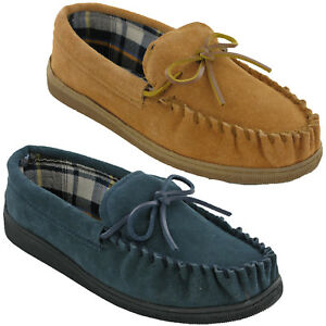 Mens-Leather-Moccasin-Slippers-Soft-Lined-Cushion-Walk-Winter-Indoor-Outdoor