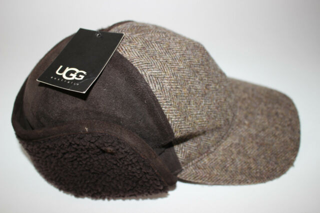 56d7399e6b134 NWT UGG S M Men s Shearling Brown Dyed Leather Wool Tweed KILLIAN Trapper  Cap