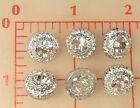 12 vintage Czech glass shank buttons silver finish rhinestone center 1/2
