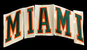 MIAMI-HURRICANES-NCAA-COLLEGE-GREEN-ORANGE-ARCHED-LETTERS-PATCHES-SET-OF-5