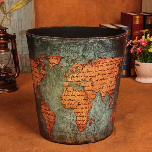 PU Leather Retro Vintage Waste Storage Paper Dust Rubbish Bin Basket Office