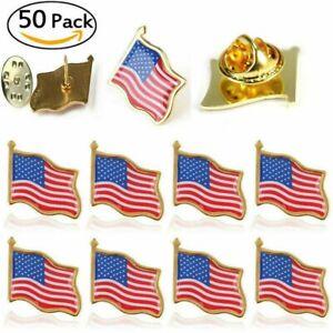 50x AMERICAN FLAG LAPEL PINS United States Patriotic USA Hat Tie Tack Badge Pin