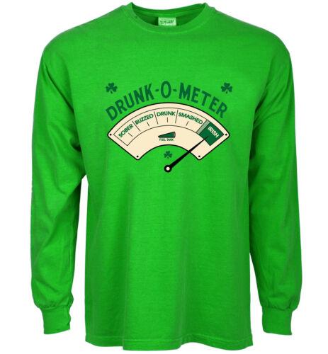 Funny st patricks day shirt Drunk-O-Meter tee for men green pattys day bar crawl