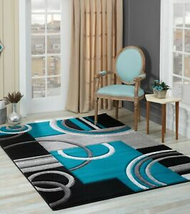 Golden-Rugs-Area-Rug-5x7-8x10-2x7-Geometric-Modern-Contemporary-Turquoise-Red