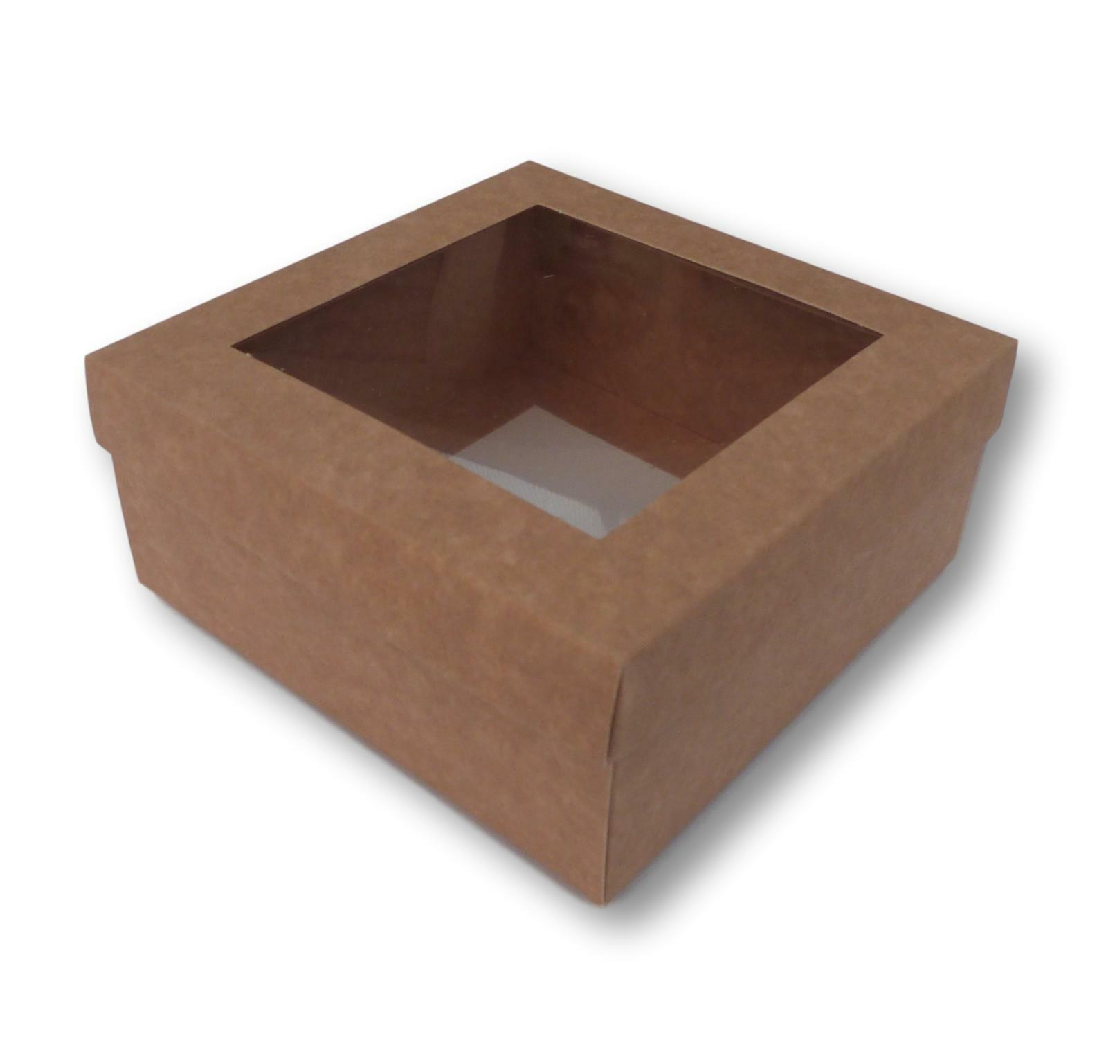 100 KRAFT 5 x 5 5 5 INCH BOX WITH WINDOW LID, GIFTS, GARMENTS, CAKES ETC 9f6741
