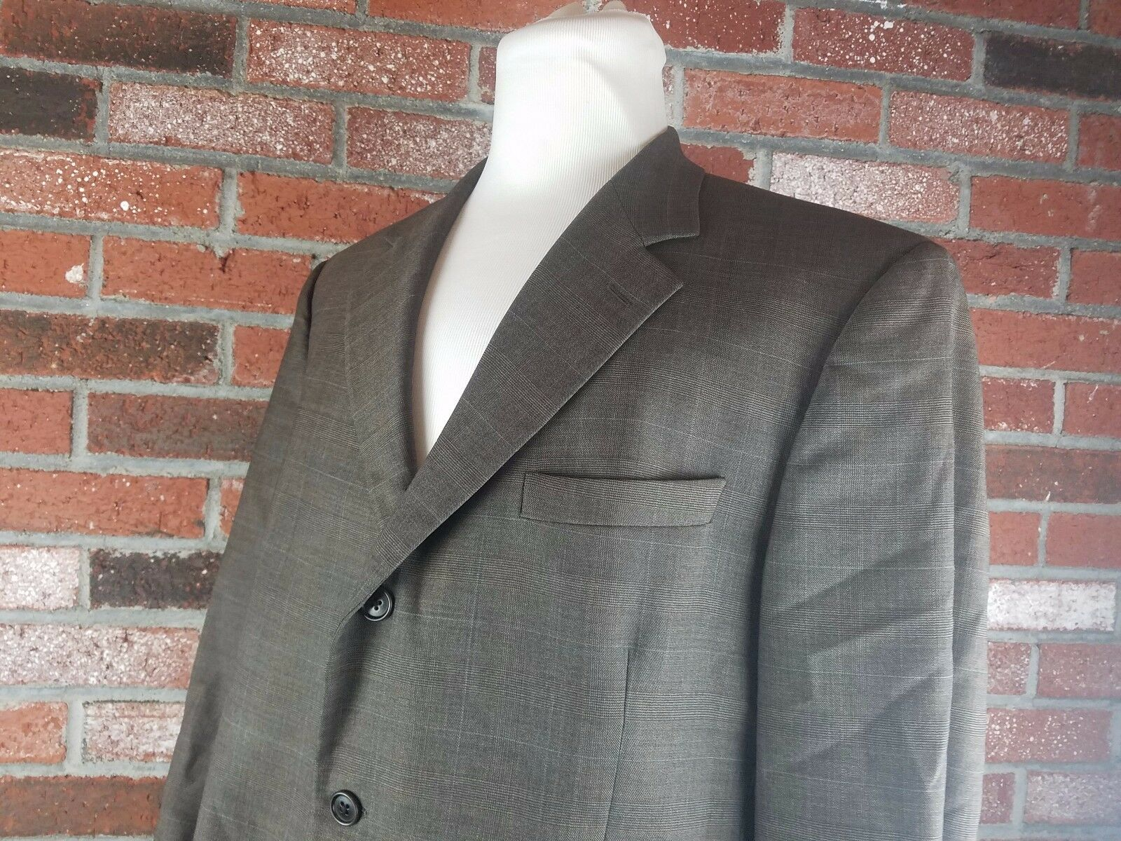Brooks Bredhers Men's Sport Coat Size 46L Brown Windowpane Wool