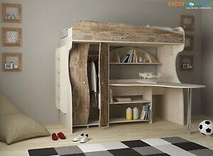 Kinderzimmer Mit Etagenbett : Hochbett alfa rustikal dunkel kinderzimmer etagenbett kinderbett