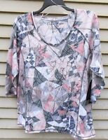 Onque Womens 1x Black Pink Grey Women's Print Top Mini Studs