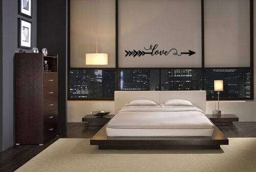 LOVE ARROW BEDROOM WALL ART DECAL VINYL WORDS STICKER LETTERING STENCIL STICKER