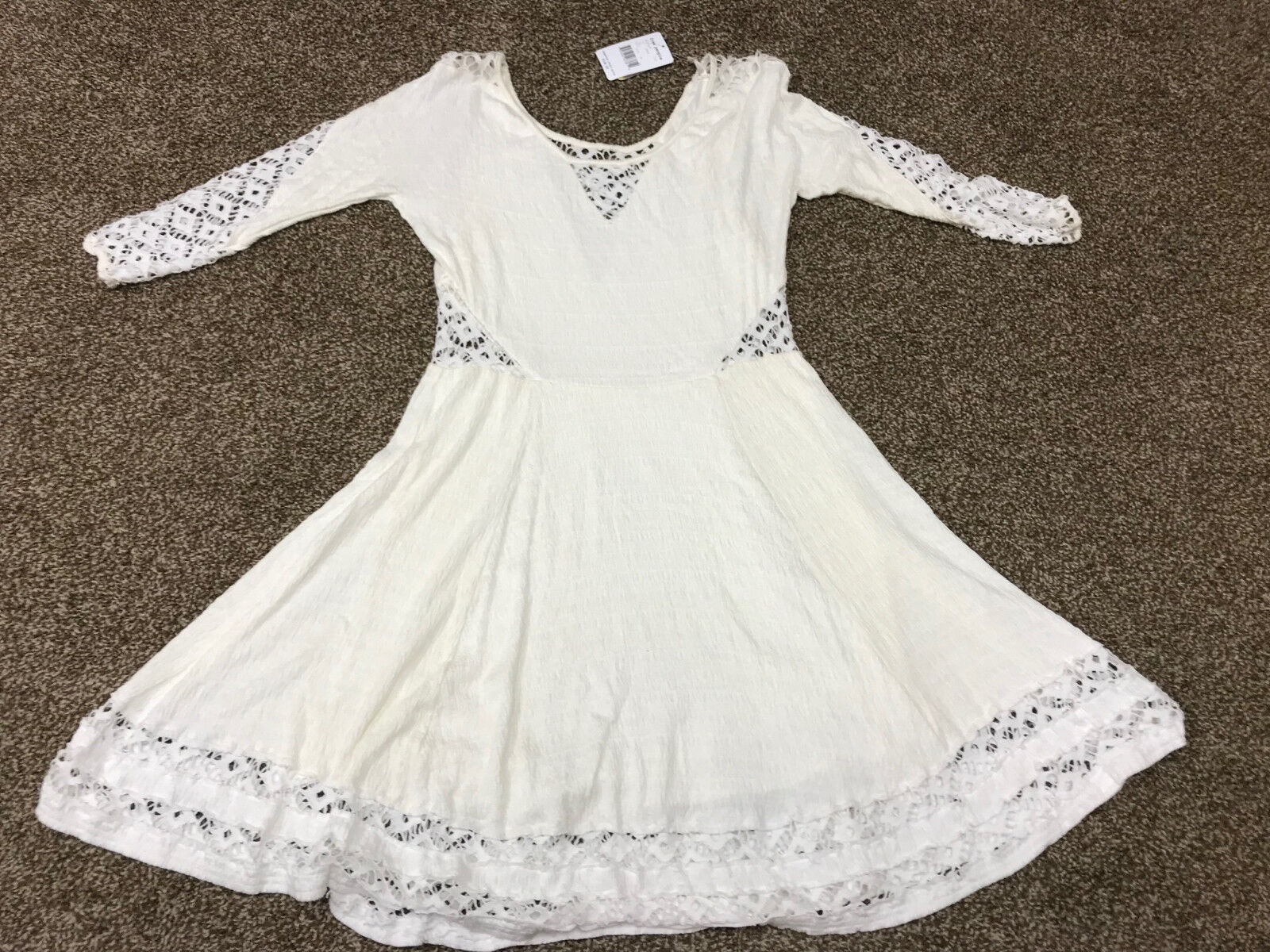 New NWT Free People F017Z898 To the Point Snow Off Weiß Dress w Crochet Inset