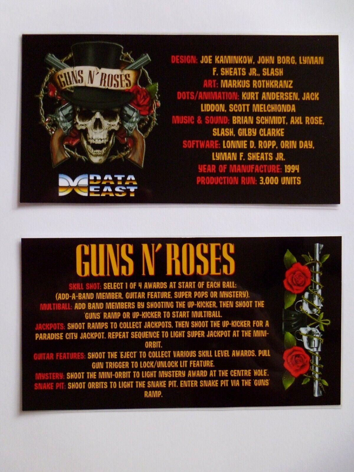 * * 'GUNS 'N' ROSES' Data East 1994 Custom Instruction/Apron Cards (New) * *