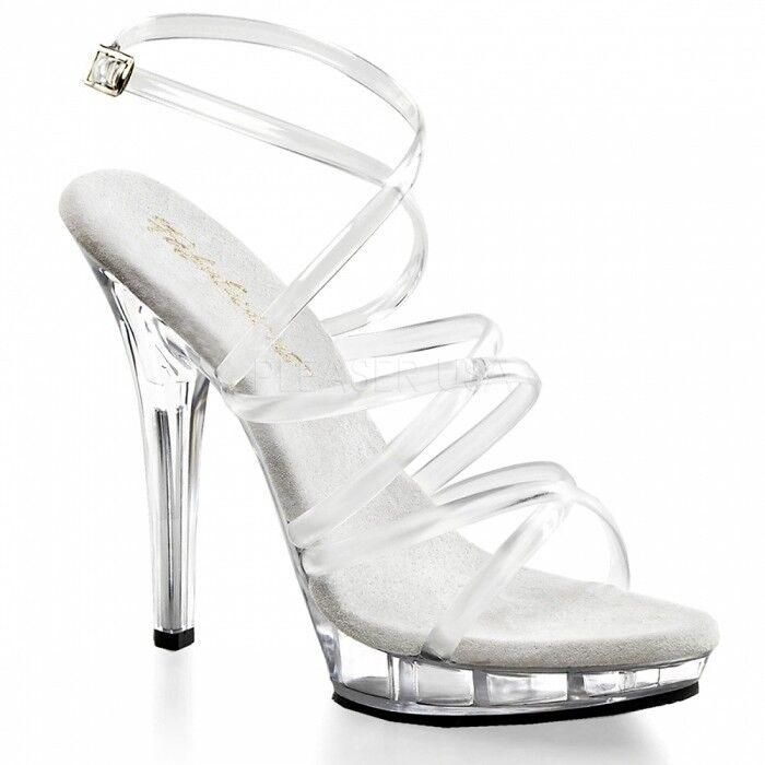 Plateforme Sandale Taille 40 US 9 TRANSPARENT Sandale Mariage Bride Gala Fête