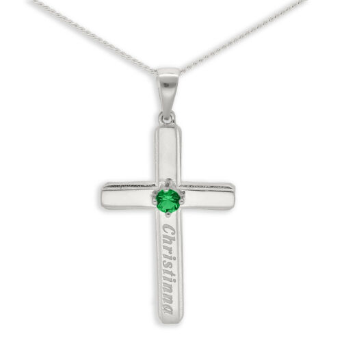 Personalised Birthstone Sterling Silver Cross Engraved Name Chain Necklace Gift