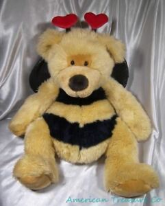 "Fougueux Russ Peluche Bonnet Big 20 "" Ultra Duveteux Bumblebee Buzzy L'ours Heart Antenne"