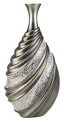 LOKG_17.75''h Sliver Grey Finish Decorative Vase - Crackle Glass Collection