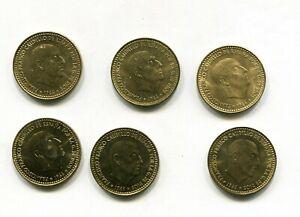 LOTE-X6-1-peseta-FRANCO-1966-SC-sacadas-de-rollo-las-6-anos-diferentes