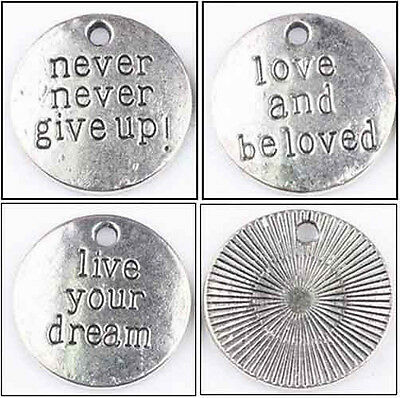 lots 10pcs tibet silver charm round shape letters jewelry pendant 20mm free