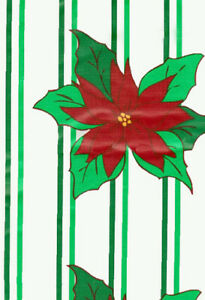 60 Round Tablecloth Vinyl Christmas Floral Poinsettia ...