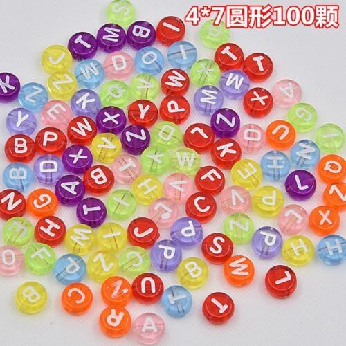 Nouveau 100//500//1000pcs Mixed Letters-Digital Beads À faire soi-même Alphabet Perles 4X7mm couleur