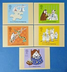 Set of 5 PHQ Stamp Postcards Set No.250 50th Anniv. of Discovery of DNA 2003 GA0