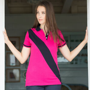 Front-Row-Femme-Diagonale-a-rayures-a-manches-courtes-House-Polo-Shirt-Femme-Coupe-Slim