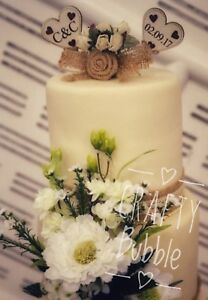 Hand-Made-Wooden-Heart-Engraved-Cake-Topper-Personalised-Wedding-Engagement-etc