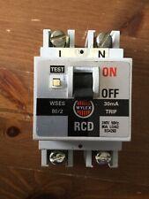 Wylex WSEM63//2 63A 63 Amp 100mA RCD RCCB 2P 2 Pole Double Circuit Breaker Trip